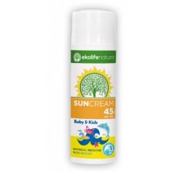 Ekolife Natura, krema za zaščito pred soncem za otroke in dojenčke ZF45 - 50 ml