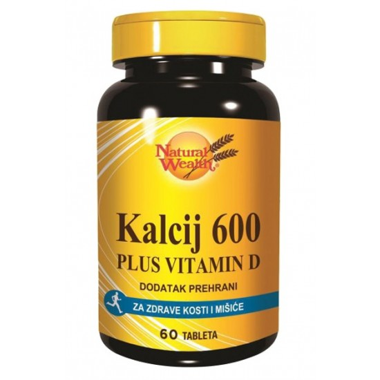 Natural Wealth Kalcij 600 + Vitamin D, tablete Prehrana in dopolnila