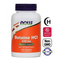 NOW Betain HCL 648 mg, kapsule