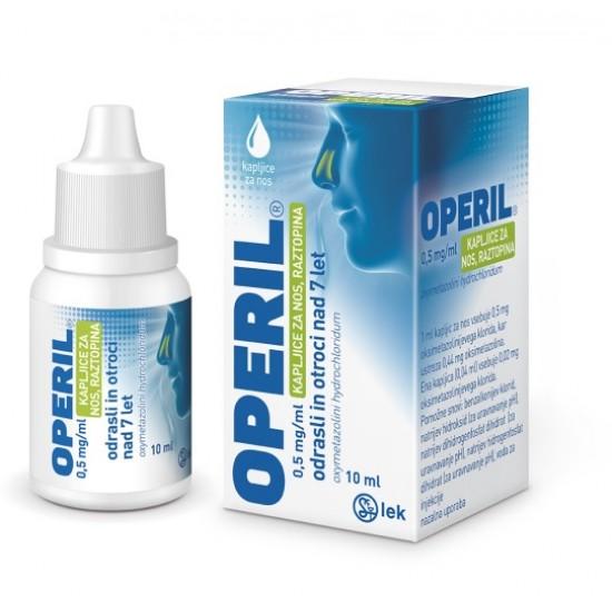 Operil 0,5 mg/ml, kapljice za nos - za odrasle, 10 ml Zdravila brez recepta