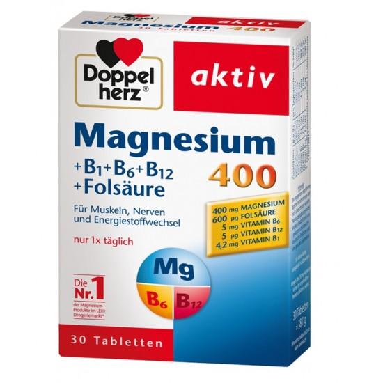 Doppelherz aktiv Magnezij 400+B vitamini+folna kislina, tablete Prehrana in dopolnila