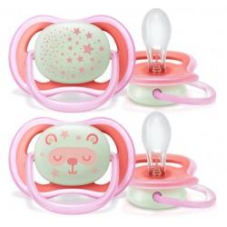 Avent Ultra Air, silikonska tolažilna duda - motiv deklice nočna 6-18 mesecev