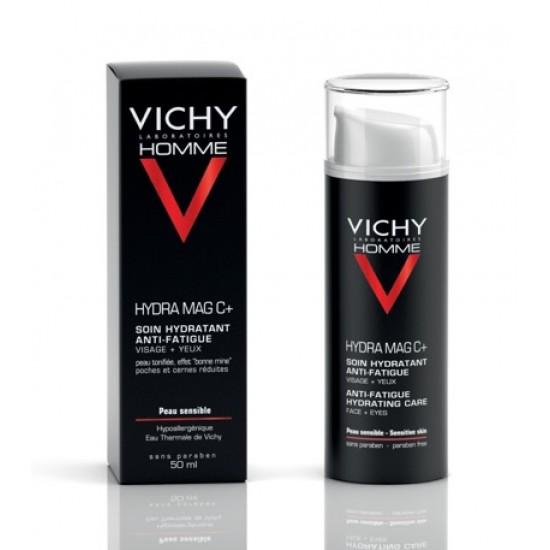 Vichy Homme Hydra Mag C+, vlažilna nega proti znakom utrujenosti za obraz in predel okoli oči Kozmetika