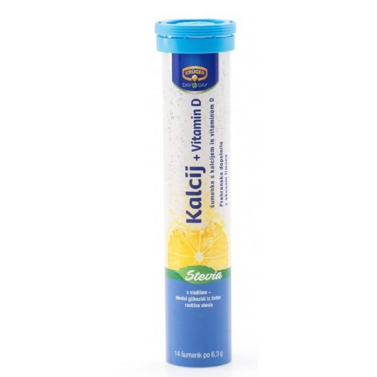 Kruger Day by Day, Kalcij + vitamin D s sladilom stevia, šumeče tablete Prehrana in dopolnila