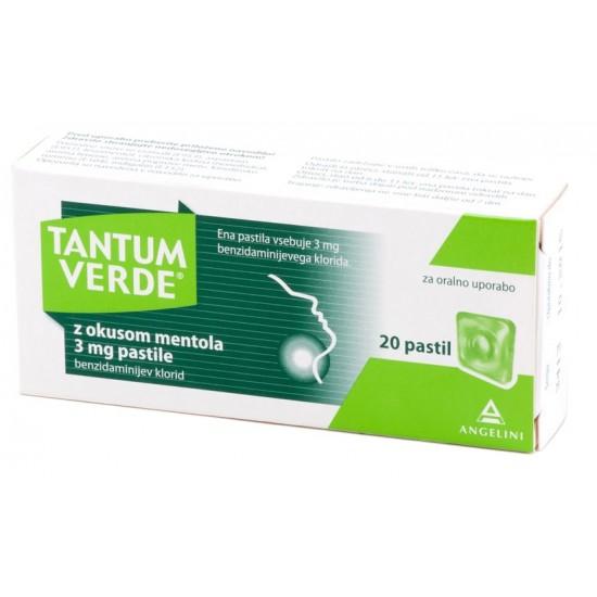 Tantum Verde z okusom mentola, pastile Zdravila brez recepta
