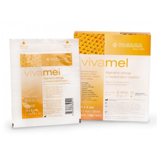 Vivamel, alginatna obloga z medicinskim medom 5x5 cm Pripomočki in zaščita