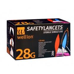 Wellion 28G Safety, 200 lancet