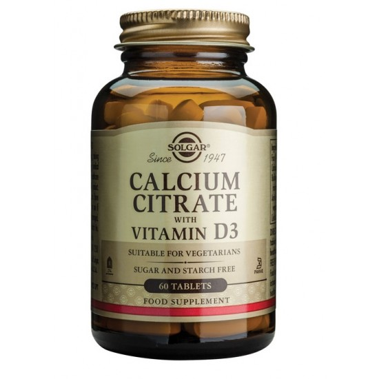 Solgar Kalcijev citrat z dodanim vitaminom D, tablete Prehrana in dopolnila