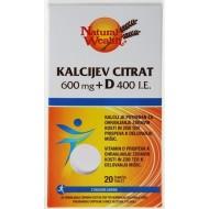 Natural Wealth KALCIJEV CITRAT + vitamin D, šumeče tablete