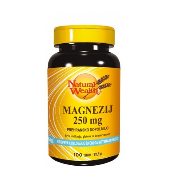 Natural Wealth Magnezij 250 mg, tablete Prehrana in dopolnila