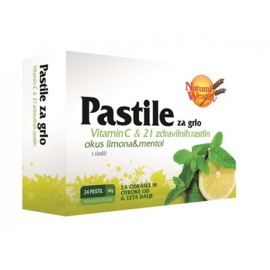 Natural Wealth Pastile za grlo, limona/mentol Prehrana in dopolnila