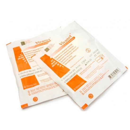 Vivanet, netkana kompresa 7,5 x 7,5 cm, 6 slojni, 2 kosa Pripomočki in zaščita