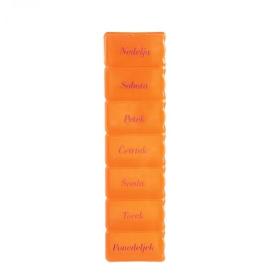 Tedenski vsebnik za zdravila oranžen Pripomočki in zaščita