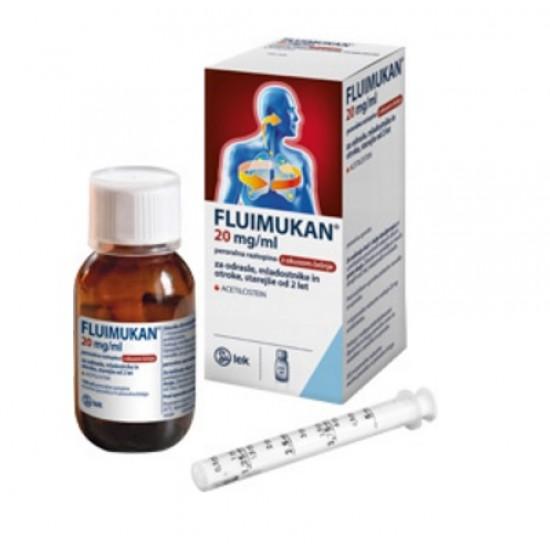 Fluimukan 20 mg/ml, peroralna raztopina z okusom češnje Zdravila brez recepta