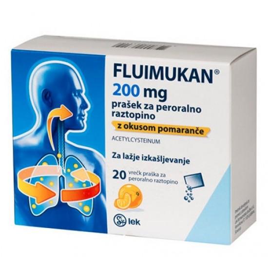 Fluimukan 200 mg prašek za peroralno raztopino z okusom pomaranče, vrečke Zdravila brez recepta