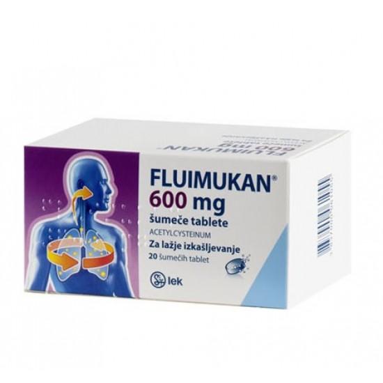 Fluimukan 600 mg, 20 šumečih tablet Zdravila brez recepta