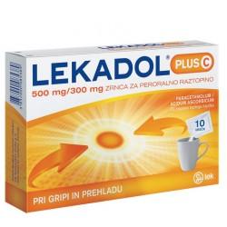 Lekadol plus C 500 mg/300 mg, zrnca za peroralno raztopino, 10 vrečk