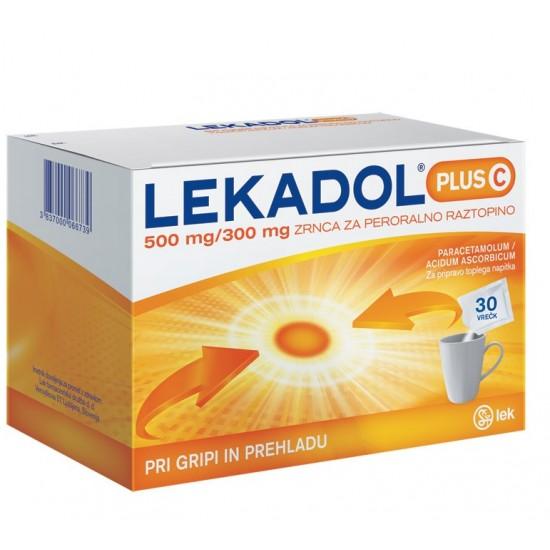 Lekadol plus C 500 mg/300 mg, zrnca za peroralno raztopino, 30 vrečk  Zdravila brez recepta