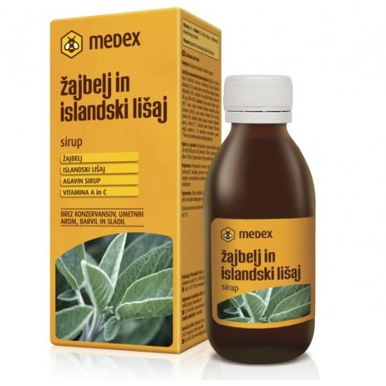 Medex, Žajbelj in islandski lišaj, raztopina z agavininim sirupom Prehrana in dopolnila