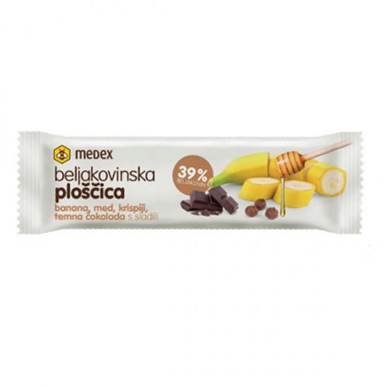 Medex, beljakovinska ploščica - banana, čokolada, krispiji, med Prehrana in dopolnila