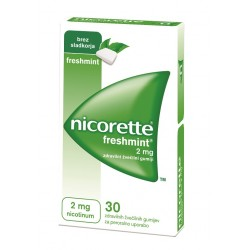 Nicorette Freshmint 2 mg, zdravilni žvečilni gumiji