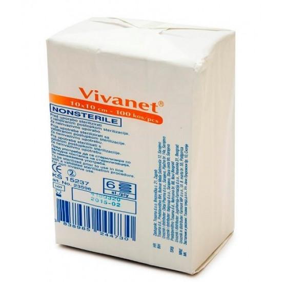Vivanet netkana kompresa 5 x 5 cm, 6 slojni, 100 kos Pripomočki in zaščita