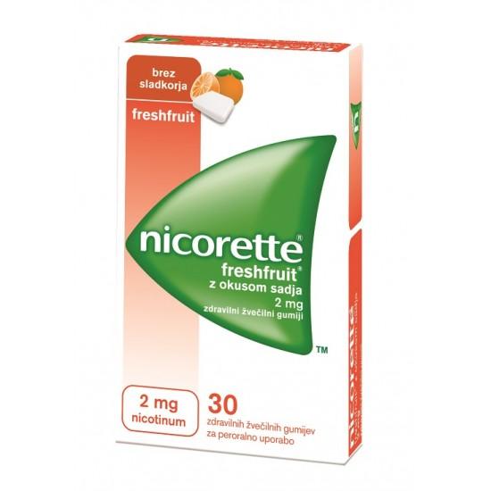 Nicorette Freshfruit z okusom sadja 2 mg, zdravilni žvečilni gumiji Zdravila brez recepta