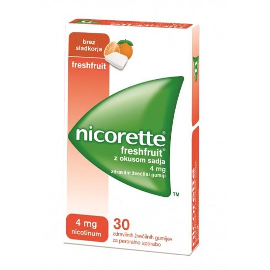 Nicorette Freshfruit z okusom sadja 4 mg, zdravilni žvečilni gumiji Zdravila brez recepta